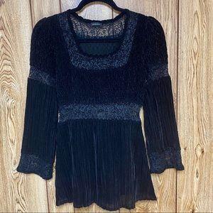 Komarov Crinkle Top Long Sleeve Velvet Lace Blouse